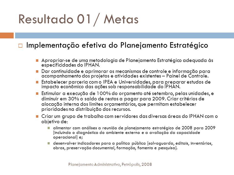 Resultado 01/ Metas Planejamento Administrativo, Petrópolis, 2008 Implementação efetiva do Planejamento Estratégico Apropriar-se de uma metodologia de
