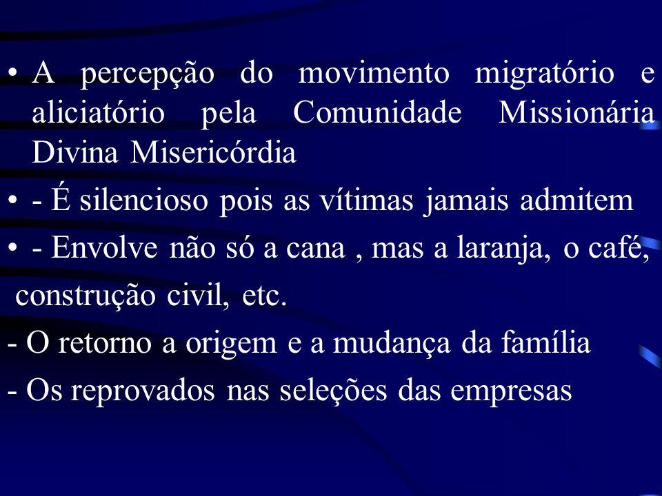 A percepção do movimento migratório e aliciatório pela Comunidade Missionária Divina Misericórdia - É silencioso pois as vítimas jamais admitem - Envolve não só a cana, mas a laranja, o café, construção civil, etc.