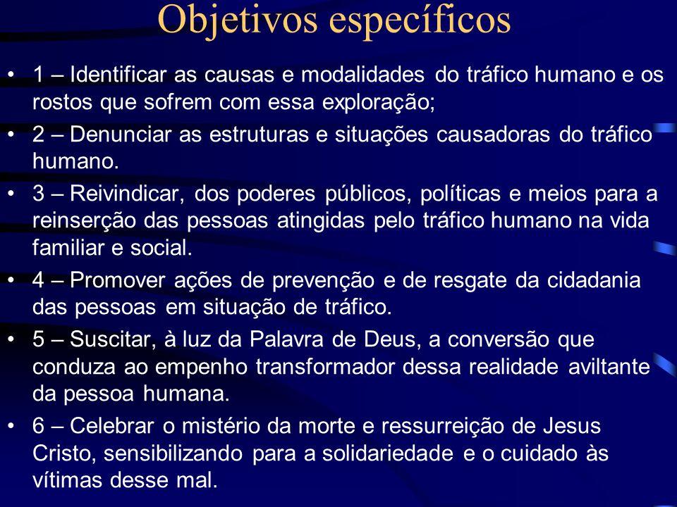 Objetivos específicos 1 – Identificar as causas e modalidades do tráfico humano e os rostos que sofrem com essa exploração; 2 – Denunciar as estruturas e situações causadoras do tráfico humano.