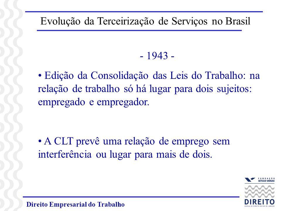 Direito Empresarial do Trabalho Evolução da Terceirização de Serviços no Brasil - 1943 - Edição da Consolidação das Leis do Trabalho: na relação de tr