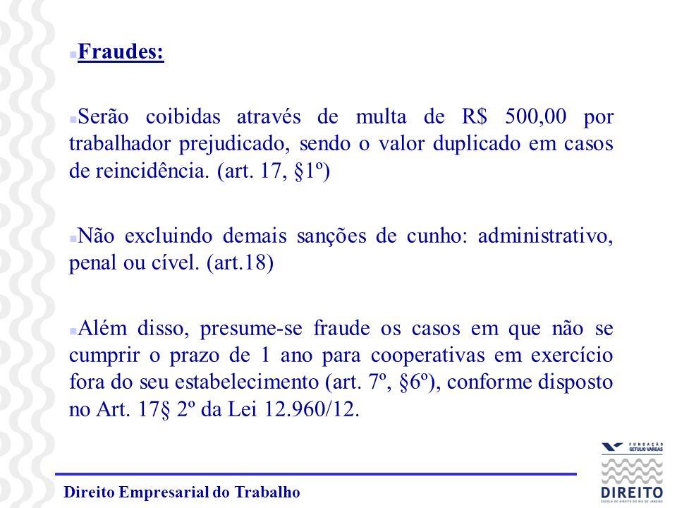 Direito Empresarial do Trabalho n Fraudes: n Serão coibidas através de multa de R$ 500,00 por trabalhador prejudicado, sendo o valor duplicado em casos de reincidência.