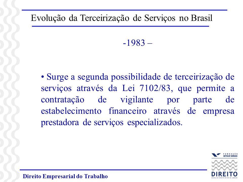 Direito Empresarial do Trabalho -1983 – Surge a segunda possibilidade de terceirização de serviços através da Lei 7102/83, que permite a contratação de vigilante por parte de estabelecimento financeiro através de empresa prestadora de serviços especializados.