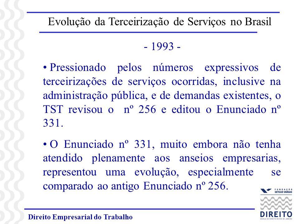 Direito Empresarial do Trabalho Evolução da Terceirização de Serviços no Brasil - - PERSPECTIVA ATUAL - n Os conceitos de atividade-fim e atividade-meio deixam de ser determinantes para se concluir sobre a legalidade ou ilegalidade da terceirização.