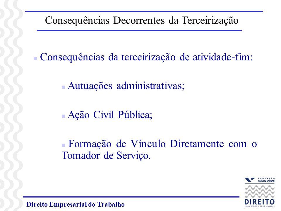 Direito Empresarial do Trabalho Consequências Decorrentes da Terceirização n Consequências da terceirização de atividade-fim: n Autuações administrati