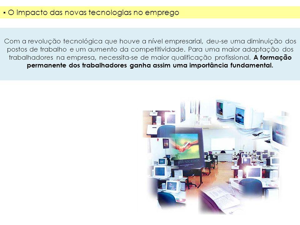 Revolução Tecnológica Diminuição dos postos de trabalho e um aumento da competitividade Necessidade de maior qualificação profissional Maior adaptação
