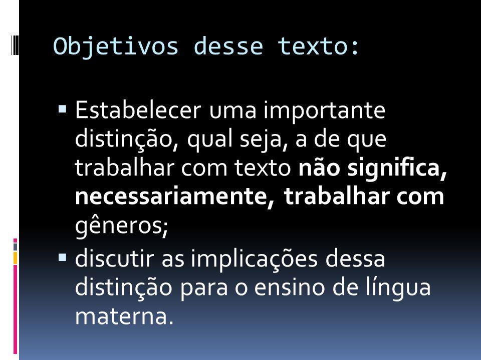 Objetivos desse texto: Estabelecer uma importante distinção, qual seja, a de que trabalhar com texto não significa, necessariamente, trabalhar com gên