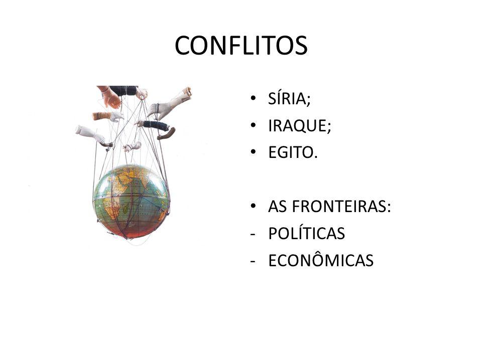 CONFLITOS SÍRIA; IRAQUE; EGITO. AS FRONTEIRAS: -POLÍTICAS -ECONÔMICAS
