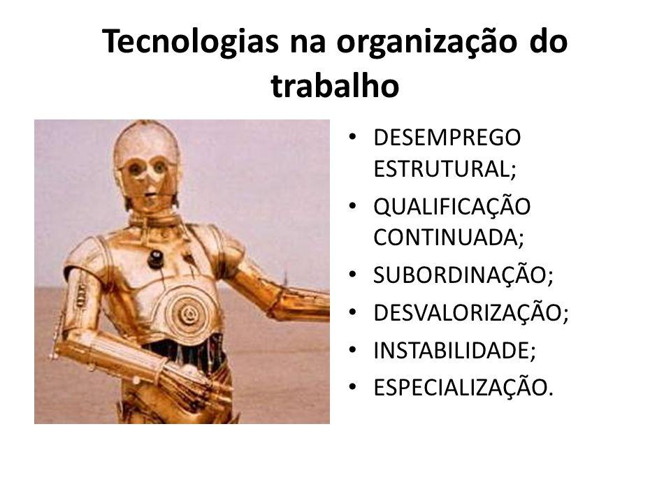 Tecnologias na organização do trabalho DESEMPREGO ESTRUTURAL; QUALIFICAÇÃO CONTINUADA; SUBORDINAÇÃO; DESVALORIZAÇÃO; INSTABILIDADE; ESPECIALIZAÇÃO.