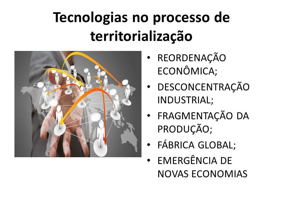 Tecnologias no processo de territorialização REORDENAÇÃO ECONÔMICA; DESCONCENTRAÇÃO INDUSTRIAL; FRAGMENTAÇÃO DA PRODUÇÃO; FÁBRICA GLOBAL; EMERGÊNCIA DE NOVAS ECONOMIAS