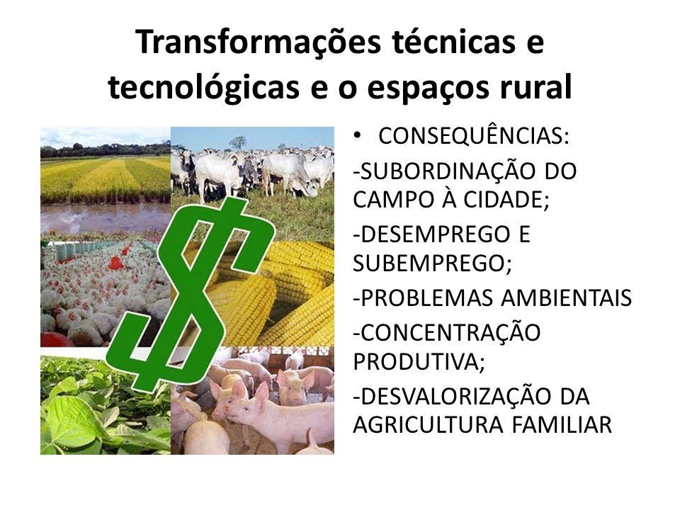Transformações técnicas e tecnológicas e o espaços rural CONSEQUÊNCIAS: -SUBORDINAÇÃO DO CAMPO À CIDADE; -DESEMPREGO E SUBEMPREGO; -PROBLEMAS AMBIENTAIS -CONCENTRAÇÃO PRODUTIVA; -DESVALORIZAÇÃO DA AGRICULTURA FAMILIAR