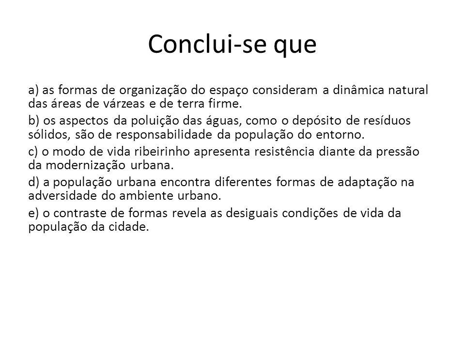 Conclui-se que a) as formas de organização do espaço consideram a dinâmica natural das áreas de várzeas e de terra firme. b) os aspectos da poluição d