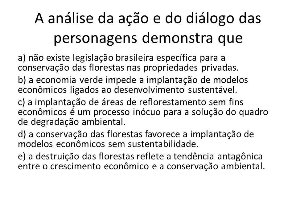 A análise da ação e do diálogo das personagens demonstra que a) não existe legislação brasileira específica para a conservação das florestas nas propr