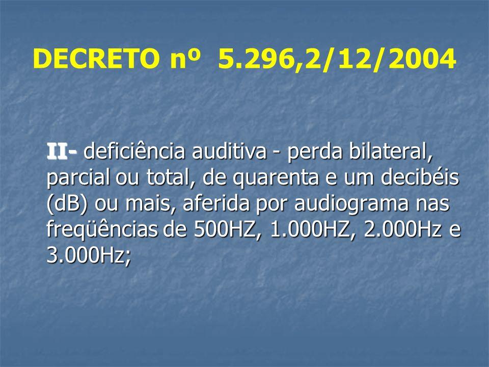 DECRETO nº 5.296,2/12/2004 II- deficiência auditiva - perda bilateral, parcial ou total, de quarenta e um decibéis (dB) ou mais, aferida por audiograma nas freqüências de 500HZ, 1.000HZ, 2.000Hz e 3.000Hz;