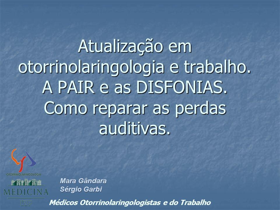 Atualização em otorrinolaringologia e trabalho.A PAIR e as DISFONIAS.