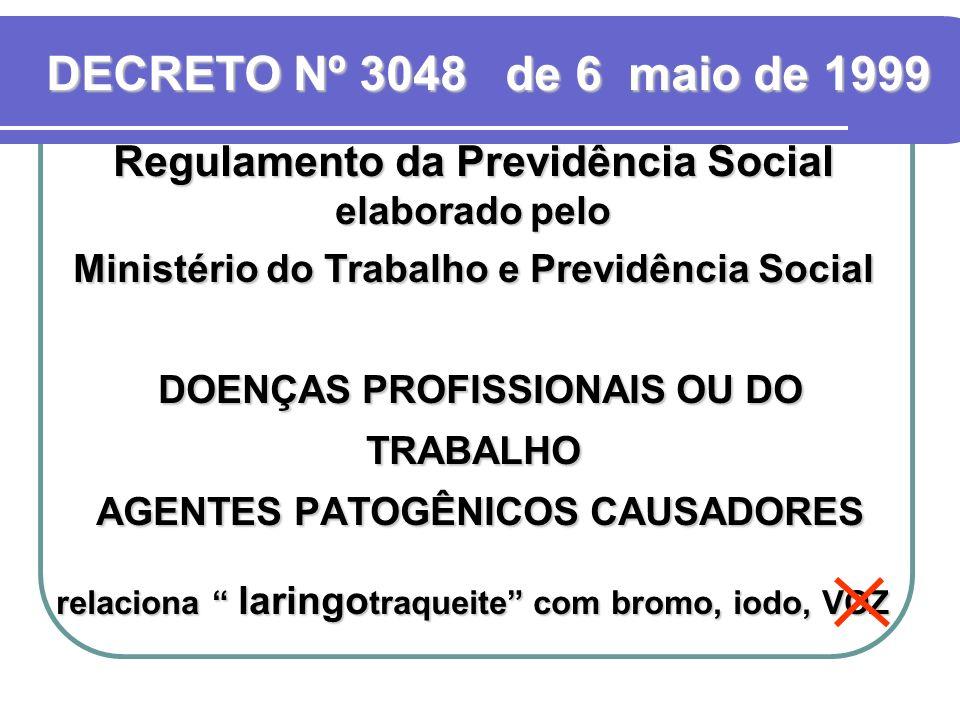 Regulamento da Previdência Social elaborado pelo Ministério do Trabalho e Previdência Social DOENÇAS PROFISSIONAIS OU DO TRABALHO AGENTES PATOGÊNICOS CAUSADORES relaciona laringo traqueite com bromo, iodo, VOZ DECRETO Nº 3048 de 6 maio de 1999