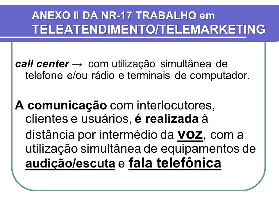 ANEXO II DA NR-17 TRABALHO em TELEATENDIMENTO/TELEMARKETING call center com utilização simultânea de telefone e/ou rádio e terminais de computador. A