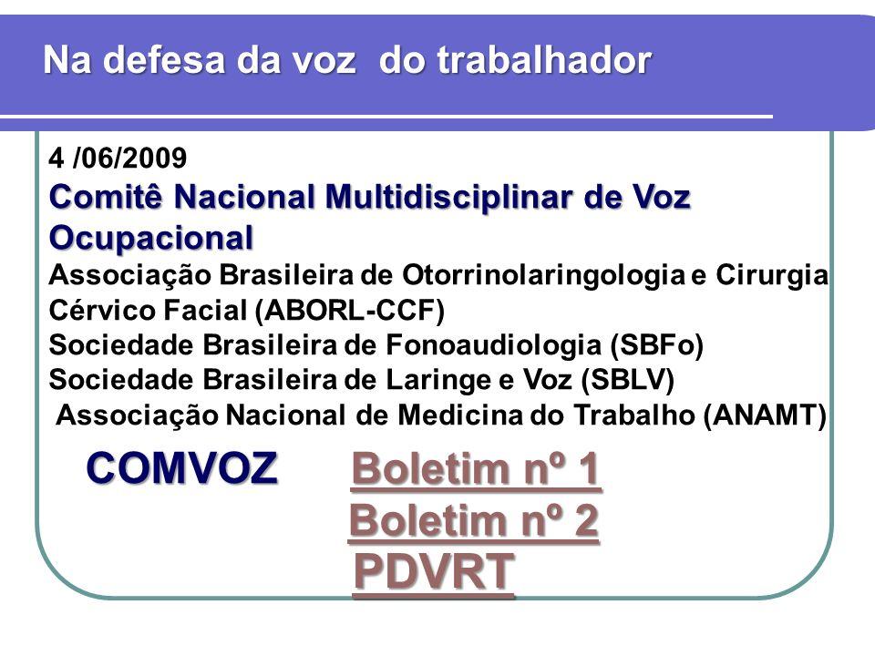 4 /06/2009 Comitê Nacional Multidisciplinar de Voz Ocupacional Associação Brasileira de Otorrinolaringologia e Cirurgia Cérvico Facial (ABORL-CCF) Sociedade Brasileira de Fonoaudiologia (SBFo) Sociedade Brasileira de Laringe e Voz (SBLV) Associação Nacional de Medicina do Trabalho (ANAMT) Na defesa da voz do trabalhador COMVOZ Boletim nº 1 Boletim nº 1Boletim nº 1 Boletim nº 2 Boletim nº 2 PDVRT