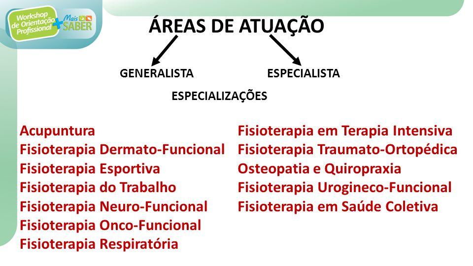 ÁREAS DE ATUAÇÃO Acupuntura Fisioterapia Dermato-Funcional Fisioterapia Esportiva Fisioterapia do Trabalho Fisioterapia Neuro-Funcional Fisioterapia Onco-Funcional Fisioterapia Respiratória GENERALISTAESPECIALISTA ESPECIALIZAÇÕES Fisioterapia em Terapia Intensiva Fisioterapia Traumato-Ortopédica Osteopatia e Quiropraxia Fisioterapia Urogineco-Funcional Fisioterapia em Saúde Coletiva