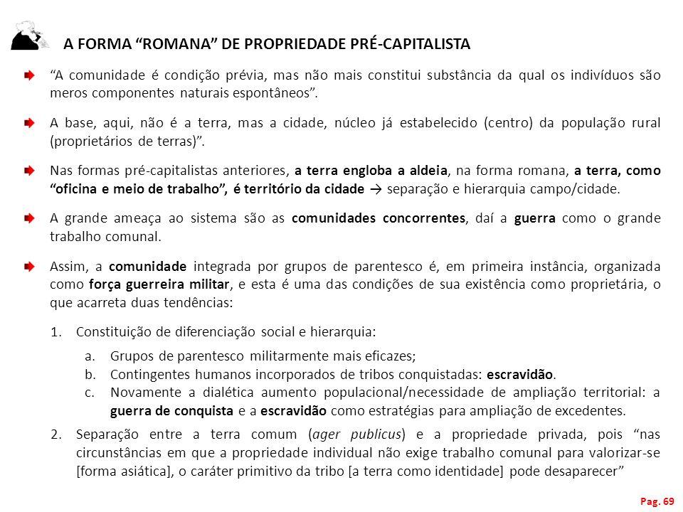 A FORMA ROMANA DE PROPRIEDADE PRÉ-CAPITALISTA A comunidade é condição prévia, mas não mais constitui substância da qual os indivíduos são meros compon