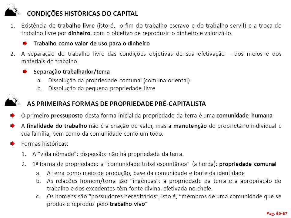 CONDIÇÕES HISTÓRICAS DO CAPITAL 1.Existência de trabalho livre (isto é, o fim do trabalho escravo e do trabalho servil) e a troca do trabalho livre po