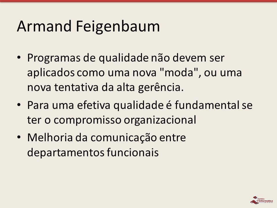 Armand Feigenbaum Programas de qualidade não devem ser aplicados como uma nova