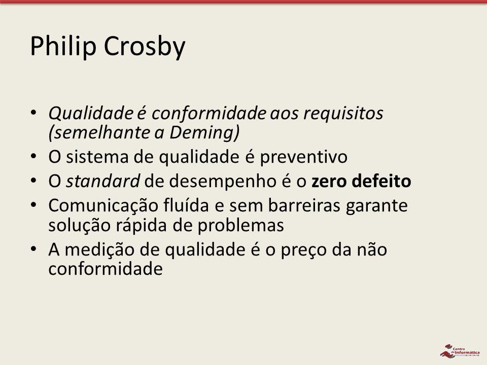 Philip Crosby Qualidade é conformidade aos requisitos (semelhante a Deming) O sistema de qualidade é preventivo O standard de desempenho é o zero defe