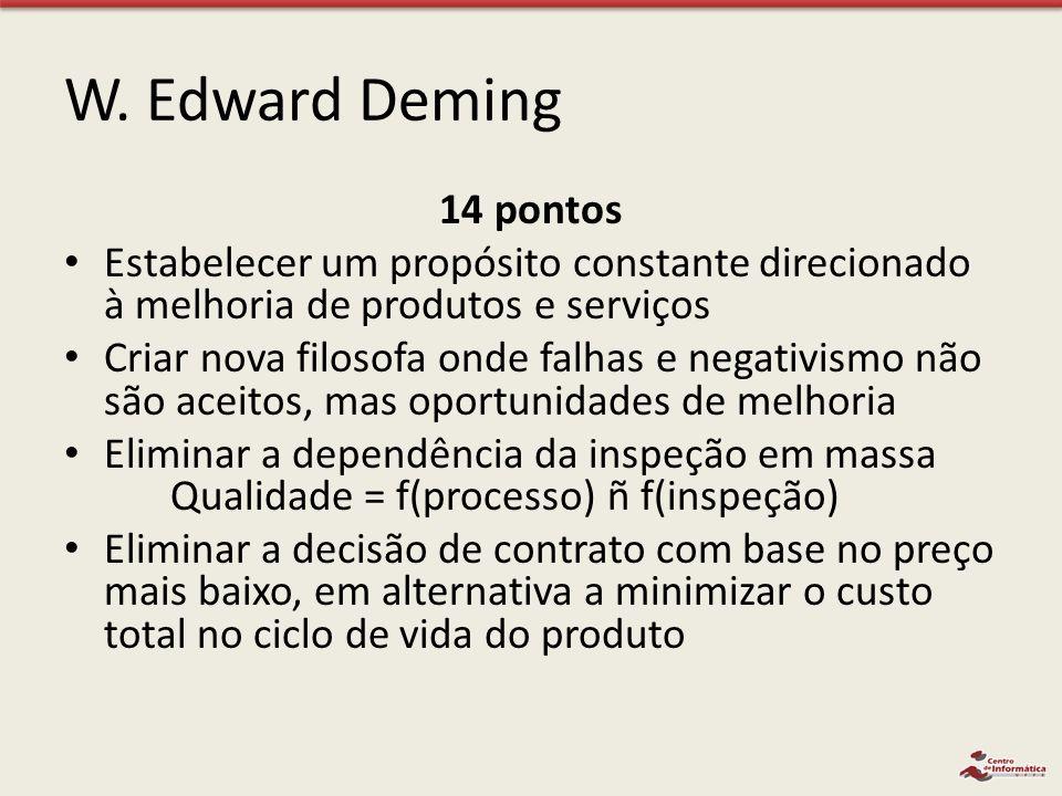 W. Edward Deming 14 pontos Estabelecer um propósito constante direcionado à melhoria de produtos e serviços Criar nova filosofa onde falhas e negativi
