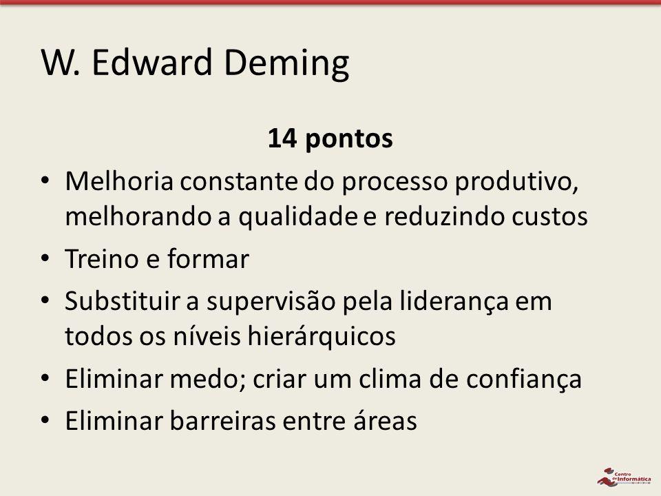 W. Edward Deming 14 pontos Melhoria constante do processo produtivo, melhorando a qualidade e reduzindo custos Treino e formar Substituir a supervisão