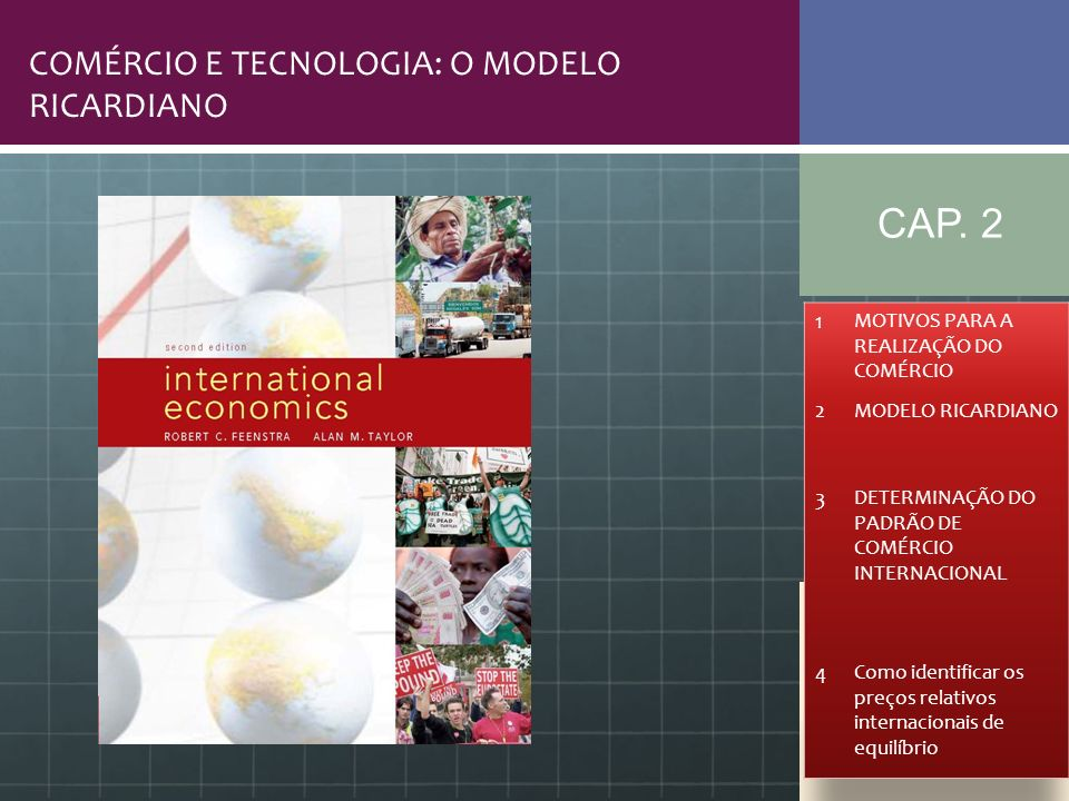 Referências bibliográficas Feenstra & Taylor.International Trade; Cap.