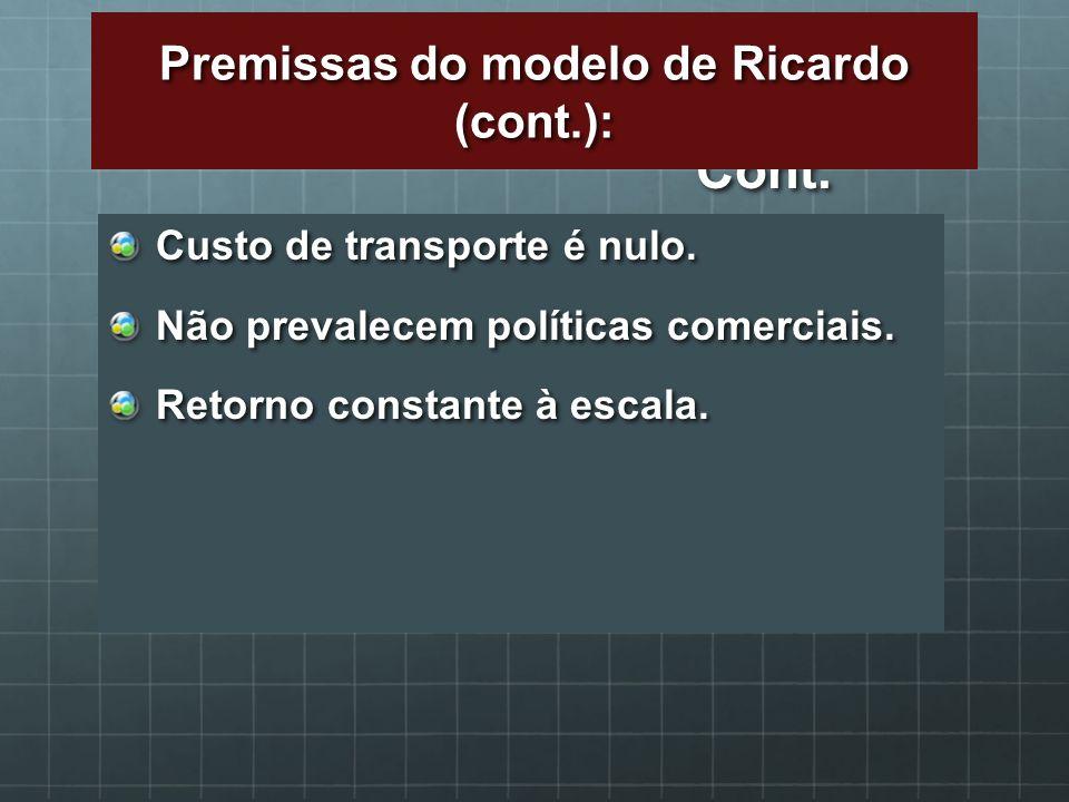 Cont. Custo de transporte é nulo. Não prevalecem políticas comerciais. Retorno constante à escala. Premissas do modelo de Ricardo (cont.):