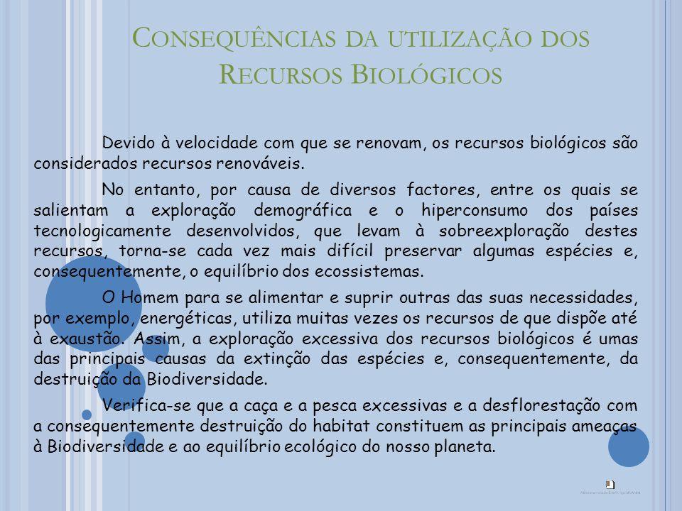 C ONSEQUÊNCIAS DA UTILIZAÇÃO DOS R ECURSOS B IOLÓGICOS Devido à velocidade com que se renovam, os recursos biológicos são considerados recursos renováveis.