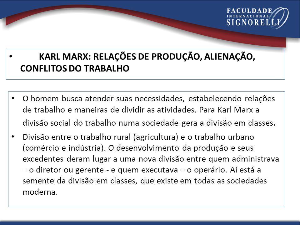 KARL MARX: RELAÇÕES DE PRODUÇÃO, ALIENAÇÃO, CONFLITOS DO TRABALHO O homem busca atender suas necessidades, estabelecendo relações de trabalho e maneir