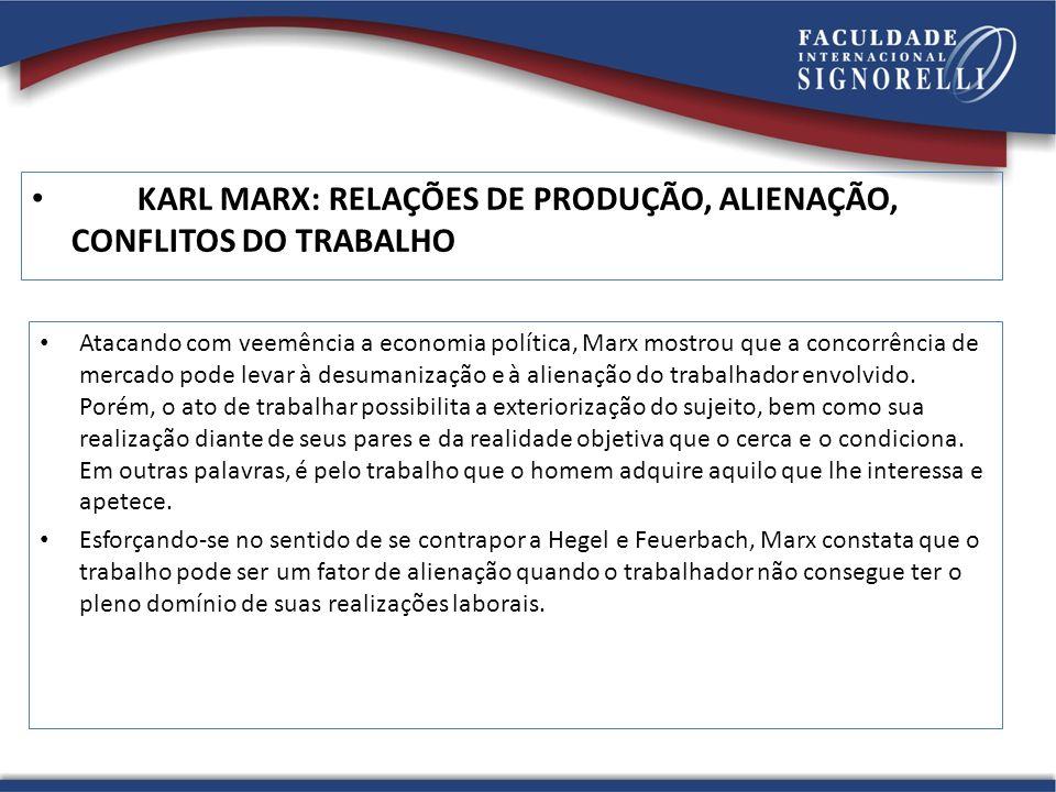 KARL MARX: RELAÇÕES DE PRODUÇÃO, ALIENAÇÃO, CONFLITOS DO TRABALHO Atacando com veemência a economia política, Marx mostrou que a concorrência de merca