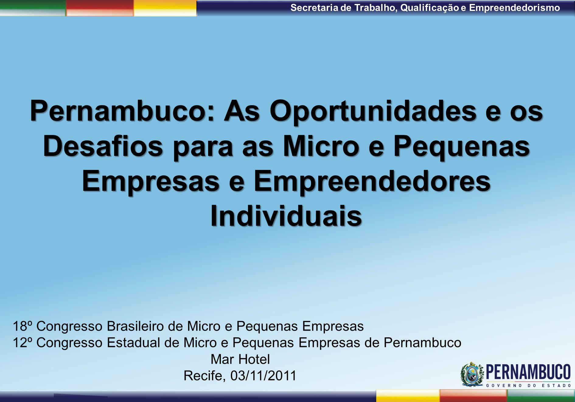 1ª Reunião de Monitoramento 2009 – 31/03/09 Secretaria de Trabalho, Qualificação e Empreendedorismo Pernambuco: As Oportunidades e os Desafios para as Micro e Pequenas Empresas e Empreendedores Individuais 18º Congresso Brasileiro de Micro e Pequenas Empresas 12º Congresso Estadual de Micro e Pequenas Empresas de Pernambuco Mar Hotel Recife, 03/11/2011