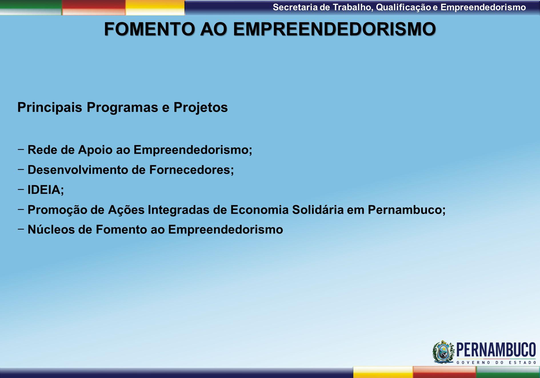 1ª Reunião de Monitoramento 2009 – 31/03/09 Secretaria de Trabalho, Qualificação e Empreendedorismo FOMENTO AO EMPREENDEDORISMO Principais Programas e Projetos Rede de Apoio ao Empreendedorismo; Desenvolvimento de Fornecedores; IDEIA; Promoção de Ações Integradas de Economia Solidária em Pernambuco; Núcleos de Fomento ao Empreendedorismo