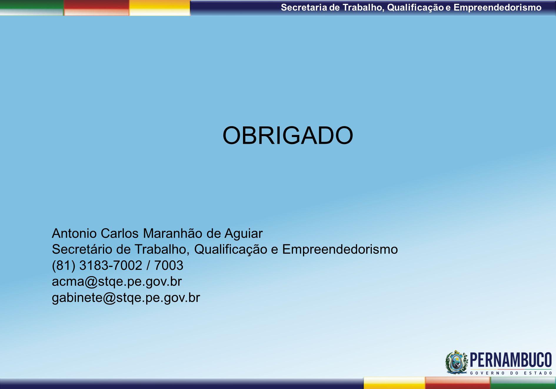 1ª Reunião de Monitoramento 2009 – 31/03/09 Secretaria de Trabalho, Qualificação e Empreendedorismo OBRIGADO Antonio Carlos Maranhão de Aguiar Secretário de Trabalho, Qualificação e Empreendedorismo (81) 3183-7002 / 7003 acma@stqe.pe.gov.br gabinete@stqe.pe.gov.br