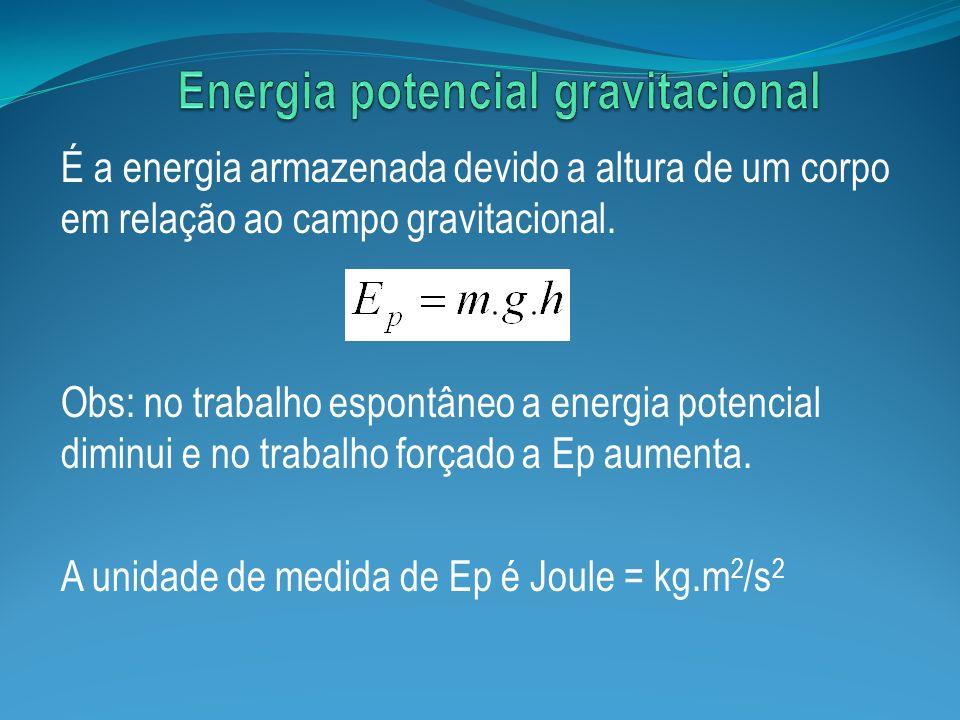 É a energia armazenada devido a altura de um corpo em relação ao campo gravitacional. Obs: no trabalho espontâneo a energia potencial diminui e no tra