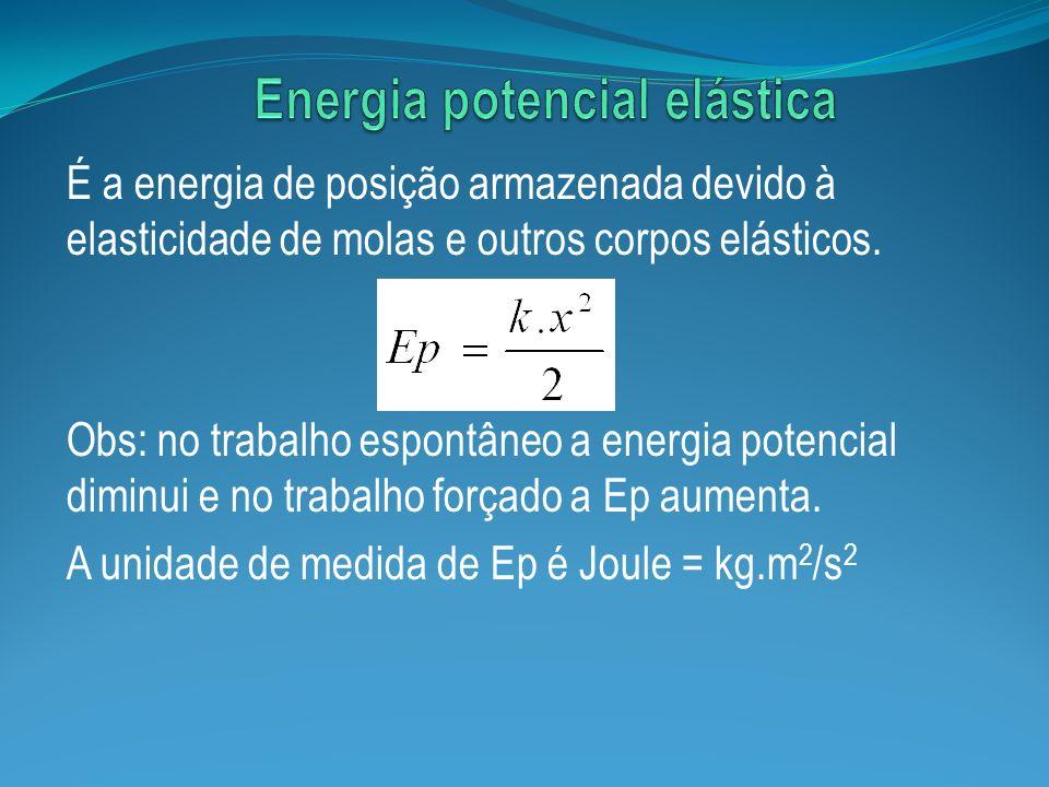 É a energia de posição armazenada devido à elasticidade de molas e outros corpos elásticos. Obs: no trabalho espontâneo a energia potencial diminui e
