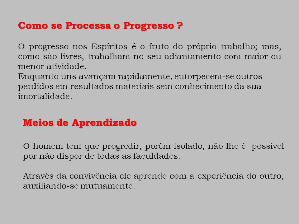 Como se Processa o Progresso ? O progresso nos Espíritos é o fruto do próprio trabalho; mas, como são livres, trabalham no seu adiantamento com maior