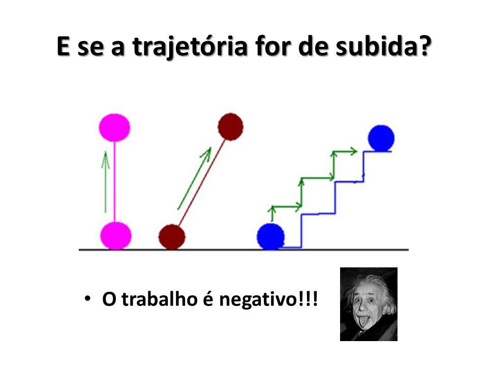 E se a trajetória for de subida? O trabalho é negativo!!!