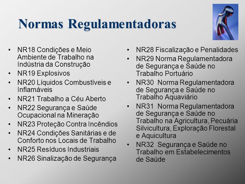 Normas Regulamentadoras NR18 Condições e Meio Ambiente de Trabalho na Indústria da Construção NR19 Explosivos NR20 Líquidos Combustíveis e Inflamáveis