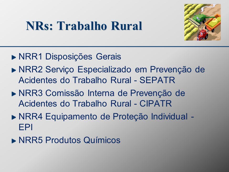 NRs: Trabalho Rural NRR1 Disposições Gerais NRR2 Serviço Especializado em Prevenção de Acidentes do Trabalho Rural - SEPATR NRR3 Comissão Interna de P