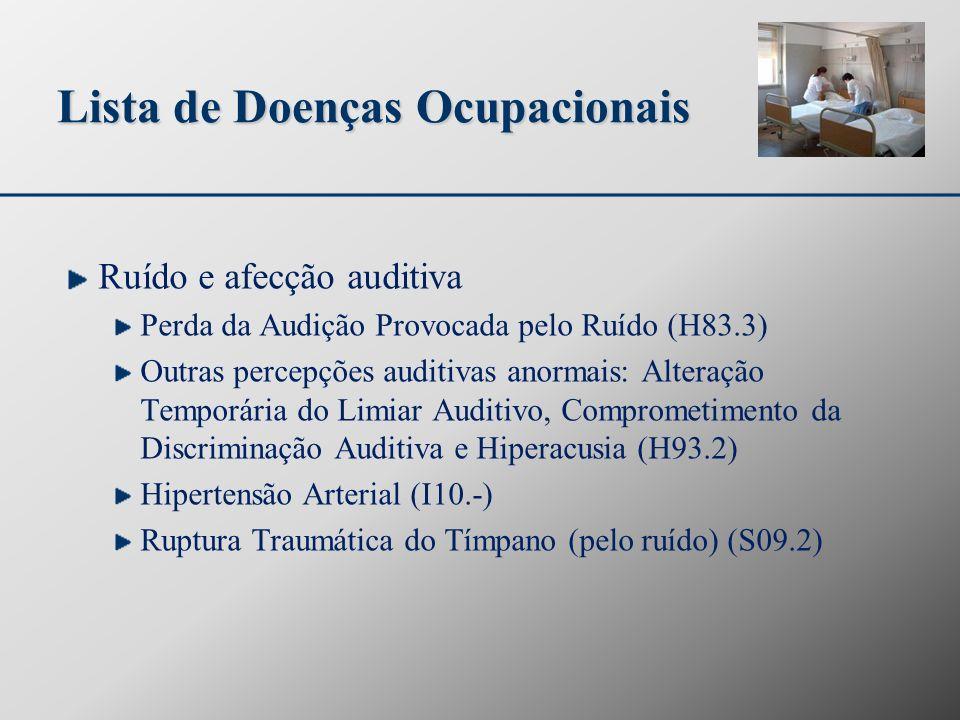 Lista de Doenças Ocupacionais Ruído e afecção auditiva Perda da Audição Provocada pelo Ruído (H83.3) Outras percepções auditivas anormais: Alteração T