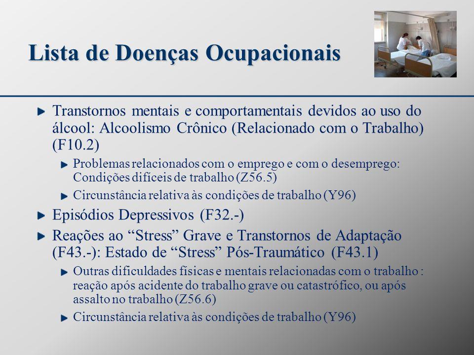 Lista de Doenças Ocupacionais Transtornos mentais e comportamentais devidos ao uso do álcool: Alcoolismo Crônico (Relacionado com o Trabalho) (F10.2)