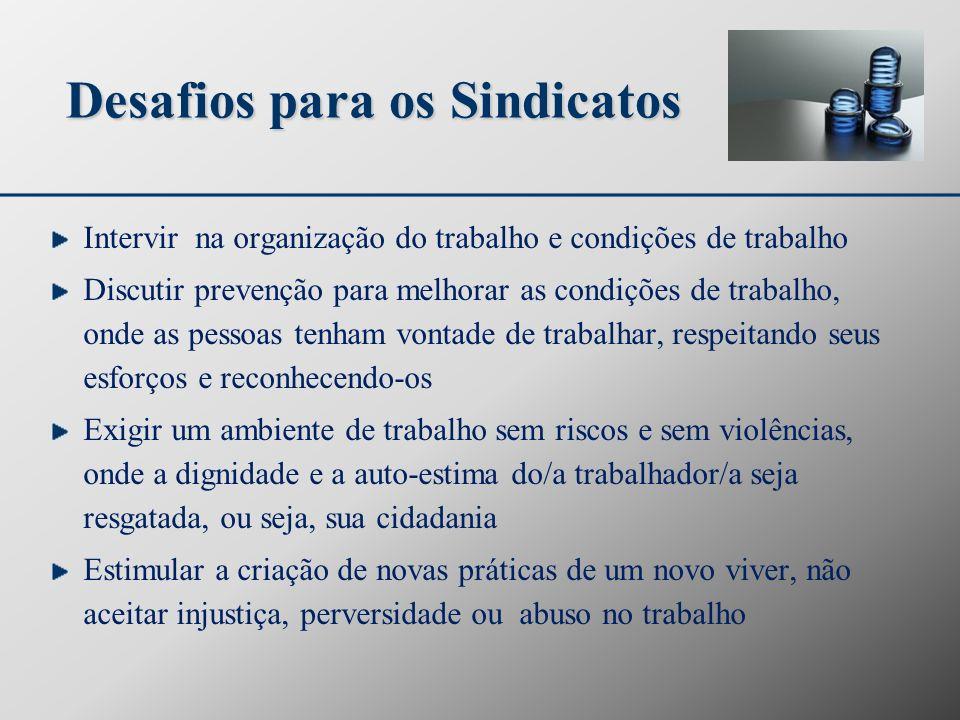 Desafios para os Sindicatos Intervir na organização do trabalho e condições de trabalho Discutir prevenção para melhorar as condições de trabalho, ond