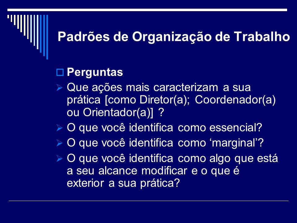 Padrões de Organização de Trabalho Perguntas Que ações mais caracterizam a sua prática [como Diretor(a); Coordenador(a) ou Orientador(a)] ? O que você