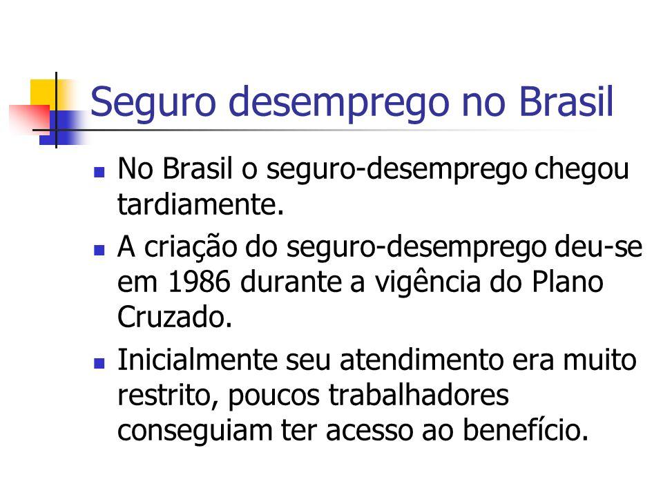 Seguro desemprego no Brasil No Brasil o seguro-desemprego chegou tardiamente. A criação do seguro-desemprego deu-se em 1986 durante a vigência do Plan