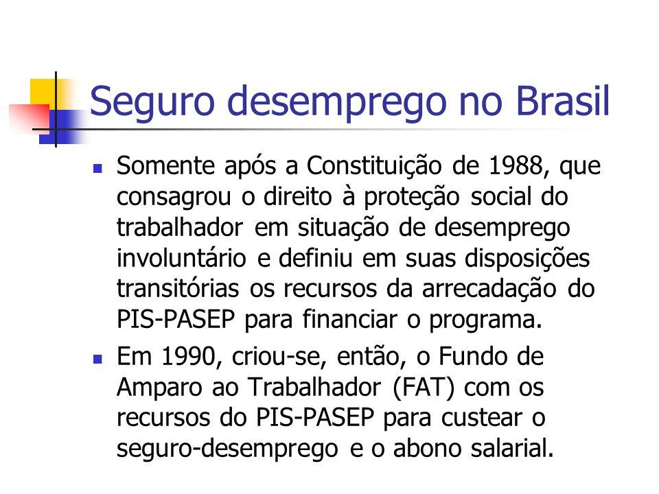 Seguro desemprego no Brasil Somente após a Constituição de 1988, que consagrou o direito à proteção social do trabalhador em situação de desemprego in