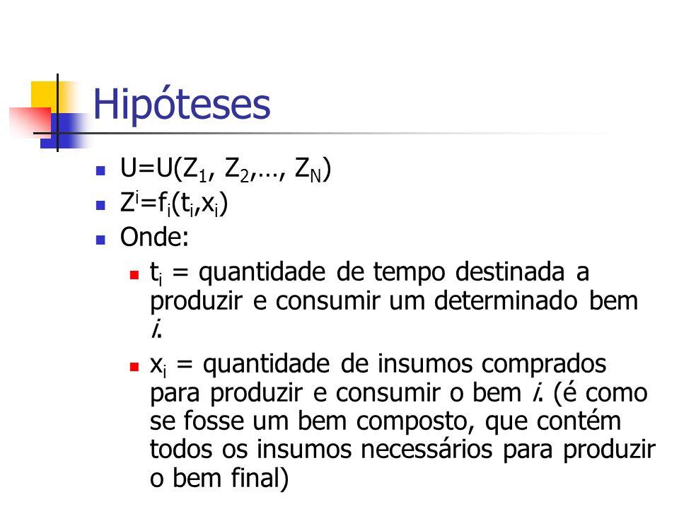Hipóteses U=U(Z 1, Z 2,…, Z N ) Z i =f i (t i,x i ) Onde: t i = quantidade de tempo destinada a produzir e consumir um determinado bem i. x i = quanti
