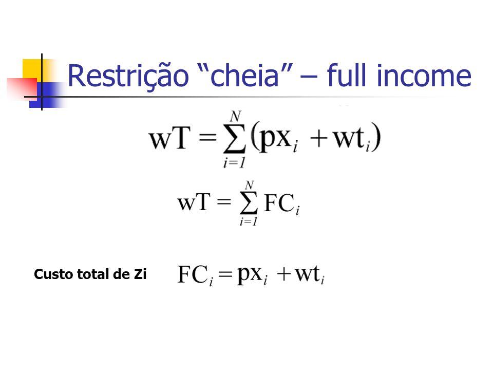 Restrição cheia – full income Custo total de Zi